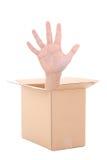Männliche Hand innerhalb der Pappschachtel lokalisiert auf Weiß Stockfotografie