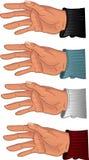 Männliche Hand in irgendeinem Farbenhemd Stockfotografie