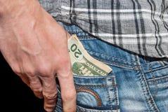 Männliche Hand mit Dollar Lizenzfreie Stockfotos