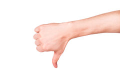 Männliche Hand mit einem Daumen unten. Negative Haltung, Ausfallungskonzept Stockbild