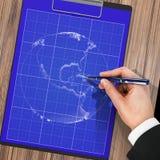 Männliche Hand mit Stiftplan planet Lizenzfreies Stockfoto