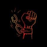 Männliche Hand, welche die Stahlhandschellen bricht lizenzfreie abbildung