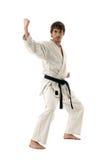 Männliche Kämpferjunge des Karate getrennt auf Weiß Stockfoto