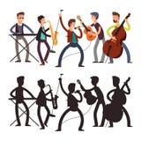 Männliche Popmusikband, die Musik spielt Vektorillustration der Zeichentrickfilm-Figur und des Schattenbildes lizenzfreie abbildung