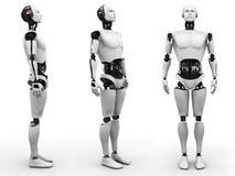 Männliche Roboterstellung, drei verschiedene Winkel. Lizenzfreie Stockfotografie