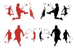Männliche Tennis-Spieler-Schattenbilder lizenzfreie abbildung