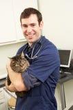 Männliche Tierarzt-Holding-Katze in der Chirurgie Stockfotos