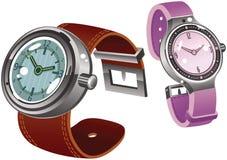 Männliche und weibliche Armbanduhren Stockfotografie