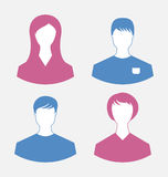 Männliche und weibliche Benutzerikonen, moderne flache Designart Lizenzfreie Stockfotos