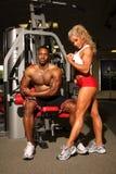 Männliche und weibliche Bodybuilder Stockbilder