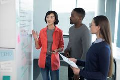 Männliche und weibliche Führungskräfte, die auf whiteboard sich besprechen Lizenzfreie Stockfotografie