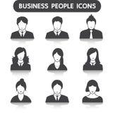 Männliche und weibliche Geschäftsleute Ikonensatz Stockfotografie