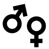 Männliche und weibliche Geschlechtssymbole auf Farbhintergrund Stockfotografie