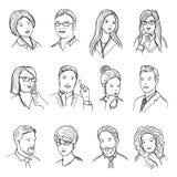 Männliche und weibliche Hand gezeichnete Illustrationen für Piktogramme oder Netzavataras Verschiedene Geschäftsgesichter mit lus stock abbildung