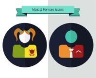 Männliche und weibliche Ikonen für Netz Stockfotografie