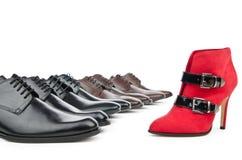 Männliche und weibliche Schuhe Stockfotos