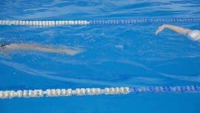 Männliche und weibliche Schwimmer schwimmen auf ihre Rückseiten stock video footage