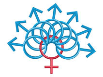 Männliche und weibliche Symbole, getrennt auf Weiß Stockbild