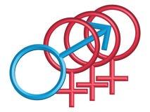 Männliche und weibliche Symbole, getrennt auf Weiß Lizenzfreies Stockfoto