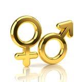 Männliche und weibliche Symbole getrennt auf Weiß Stockfotografie