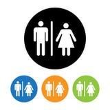 Männliche und weibliche Toiletten-Symbol-Ikone Lizenzfreie Stockfotos