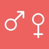 Männliche und weibliche Zeichen lokalisiert auf rotem Hintergrund Stockfotografie