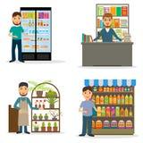Männliche Verkäufer am Arbeitsplatzsatz Stockfotos