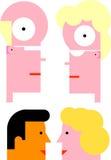 Männliche/weibliche Köpfe stock abbildung