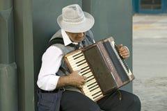 Männlicher Akkordeonspieler in der Stadt-Mitte von Sevilla, Andalusien, Süd-Spanien Stockfotos