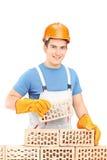 Männlicher Arbeiter, der eine Backsteinmauer errichtet Stockbilder