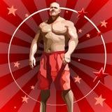 Männlicher Athlet der Karikatur in den roten kurzen Hosen auf rotem Hintergrund mit Sternen Lizenzfreies Stockbild