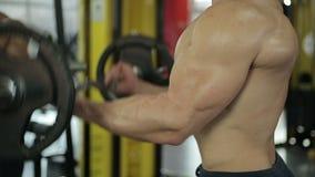 Männlicher Athlet mit den idealen Muskeln, die Barbell tun, kräuseln die Übung und schwer arbeiten in der Turnhalle stock video