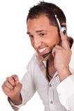 Männlicher Aufrufmittebediener oder Empfangsdame Stockfotografie