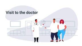 Männlicher Besuchsdoktor der fetten überladenen Paare, der medizinische Verordnung für beleibtes Mannfrauenpatienten-Medizingesun stock abbildung