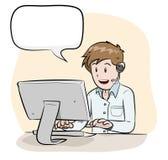 Männlicher Betreiber mit Text Lizenzfreie Stockfotos