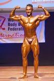 Männlicher Bodybuilder biegt seine Muskeln und zeigt seine beste Konstitution Stockfotos
