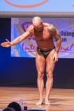 Männlicher Bodybuilder biegt seine Muskeln und zeigt seine beste Konstitution Stockbilder