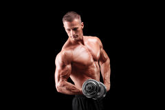 Männlicher Bodybuilder, der ein Metallgewicht anhebt Lizenzfreies Stockfoto