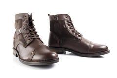 Männlicher brauner Lederstiefel, Schuhe Stockfoto