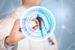 Männlicher Doktor, der eine Pille mit dem Glühen hält, kreist ein Lizenzfreie Stockbilder