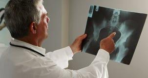 Männlicher Doktor, der einen Röntgenstrahl überprüft stock video