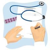 Männlicher Doktor, der leere medizinische Verordnung ausfüllt vektor abbildung