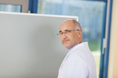 Männlicher Doktor Standing By Flipchart Lizenzfreies Stockfoto