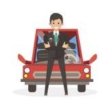Männlicher Geschäftsmann gekauft das Auto Flache Leute der Charaktervektor-Illustration Stockbilder