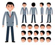 Männlicher Geschäftsmanncharaktererbauer für verschiedene Haltungen Stockbilder