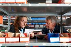 Männlicher Ingenieur With Female Apprentice, das Bestände überprüft Lizenzfreies Stockbild