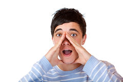 Männlicher Jugendlicher schreit Reklameanzeigeansage lizenzfreies stockfoto