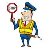 Männlicher Karikatur-Polizeibeamte Stockfoto