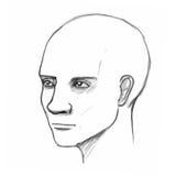 Männlicher Kopf. Bleistiftskizzennachahmung im Vektor Stockfoto