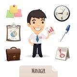 Männlicher Manager Icons Set Lizenzfreie Stockfotografie